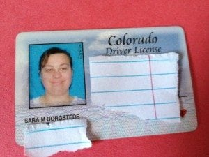 Sara Borgstede before photo - 100 pounds heavier driver's license