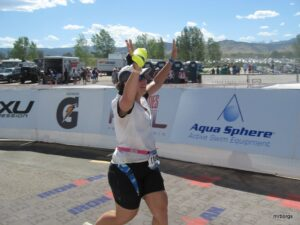 Sara's 70.3 Half Ironman Finish Line
