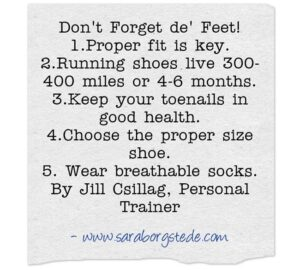 don't forget de feet