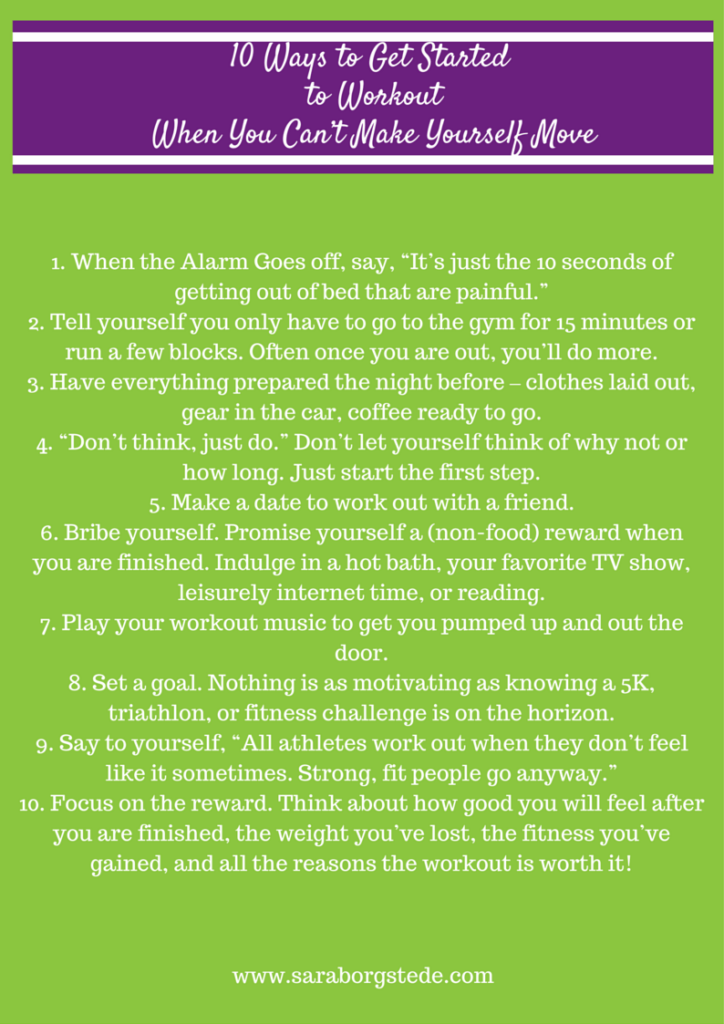 10 Steps to Workout When You Can't Make Yourself Move! Use this PDF download as a cheat sheet reminder for exercise motivation on tough days!