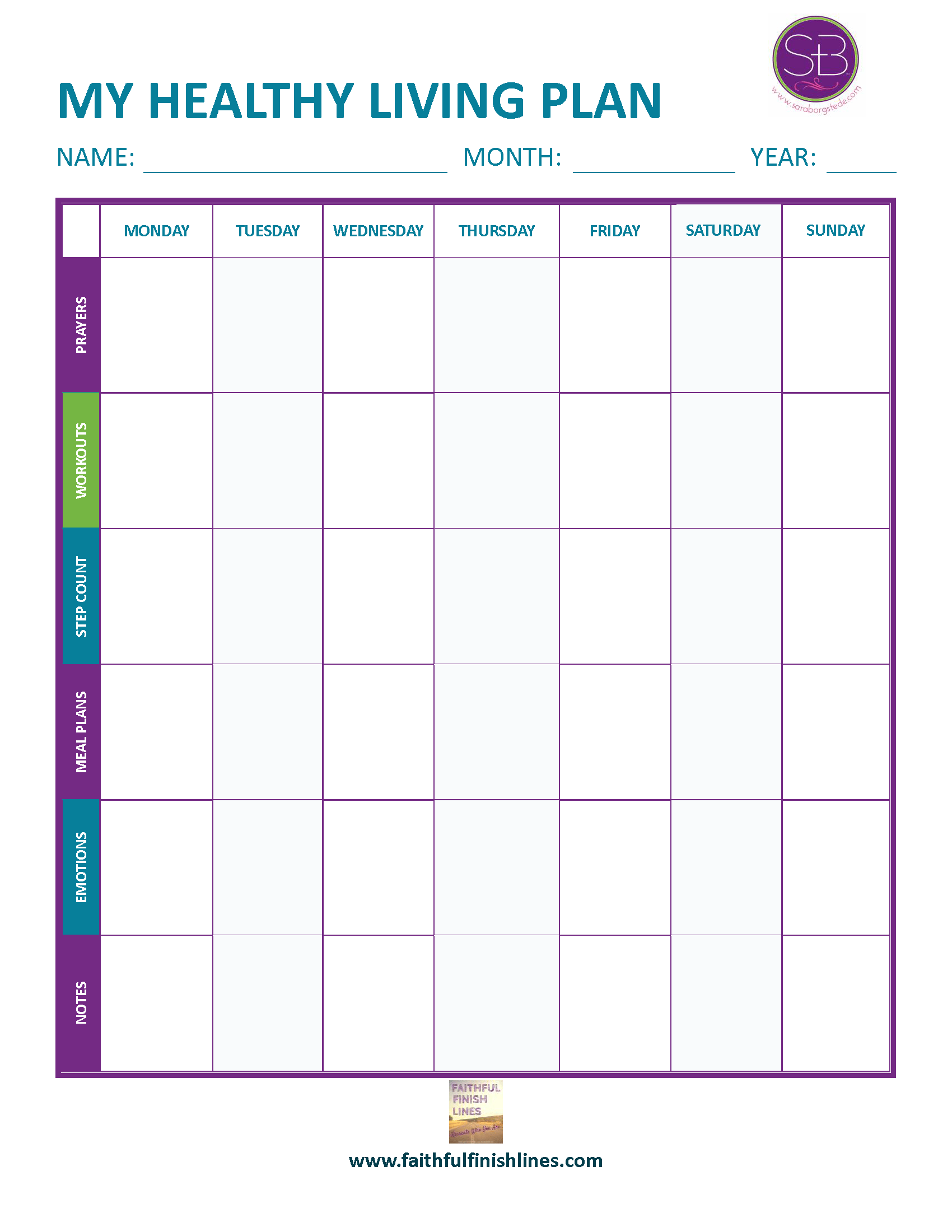 My Healthy Living Plan — Get Organized!
