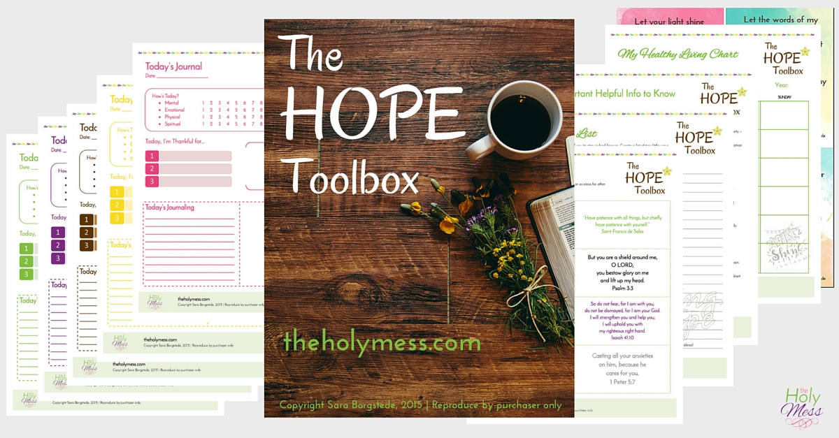 My Hope Toolbox Printable Kit: Now revised to include 20 beautiful pages!