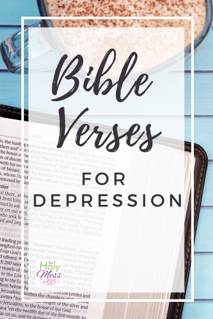 Bible Verses for Depression, bible on blue table with coffee mug