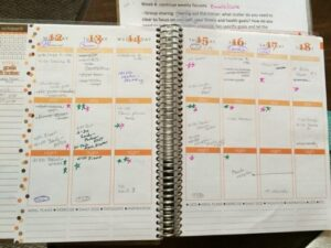 Sara's calendar, tracking fruits and veggies