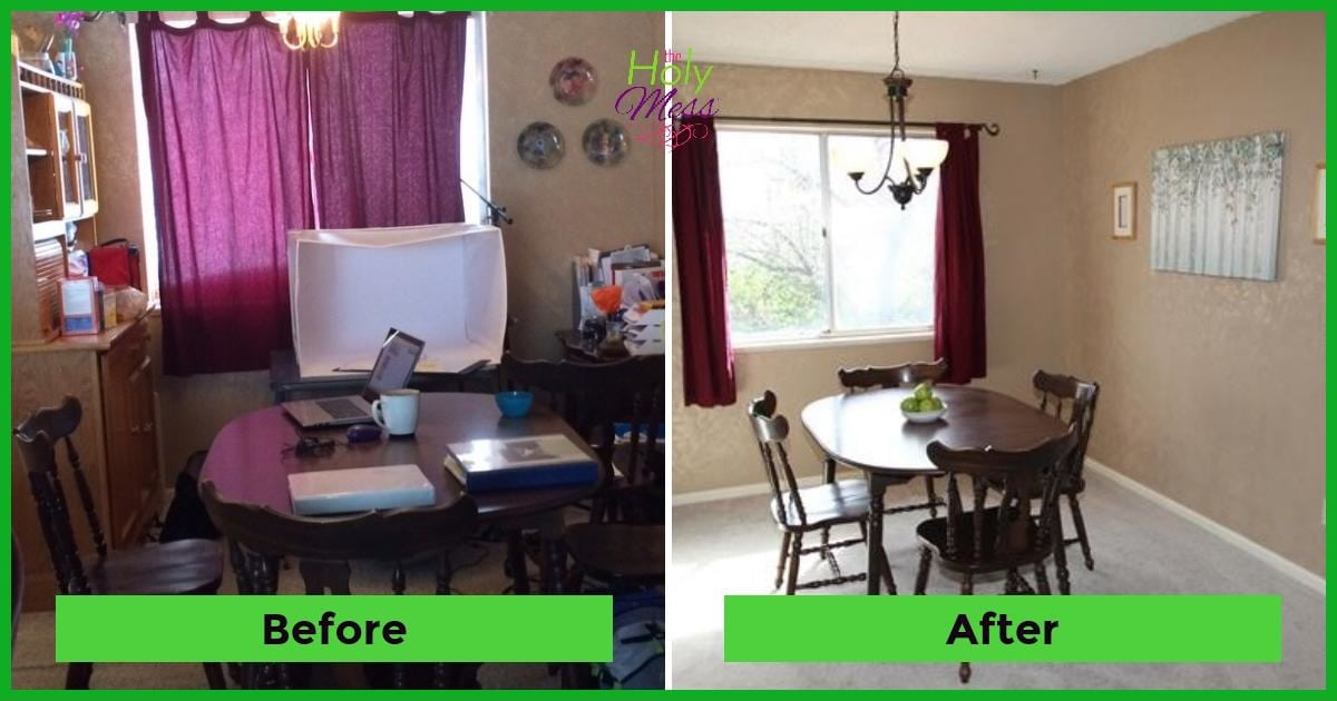 Dining room before after|The Holy Mess
