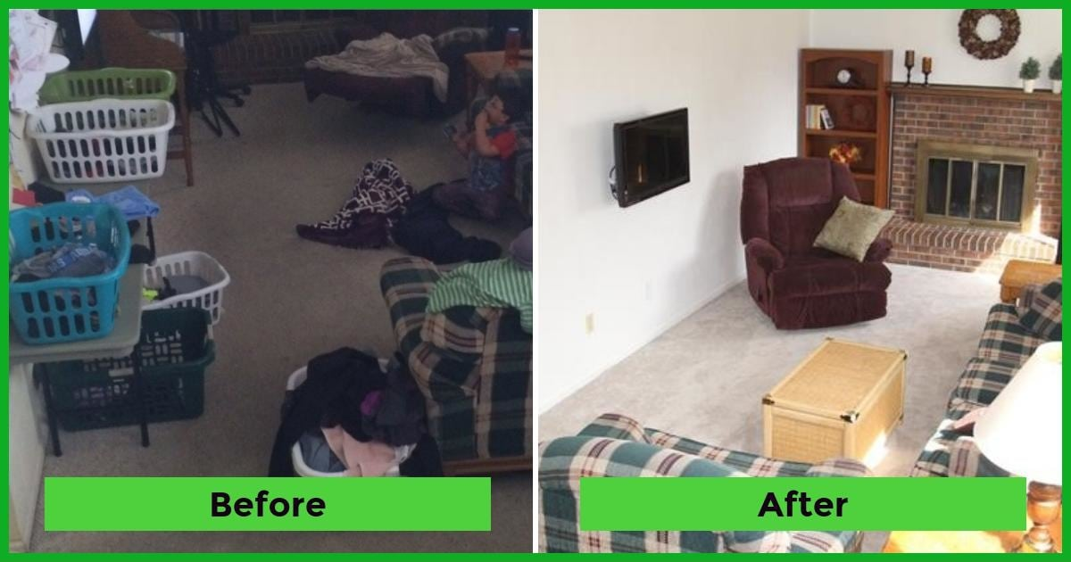 Family room before after The Holy Mess