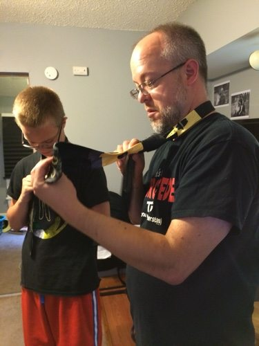Lessons from dad in how to tie a tie.