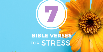 7 Bible Verses for Stress, blue background with yellow flower