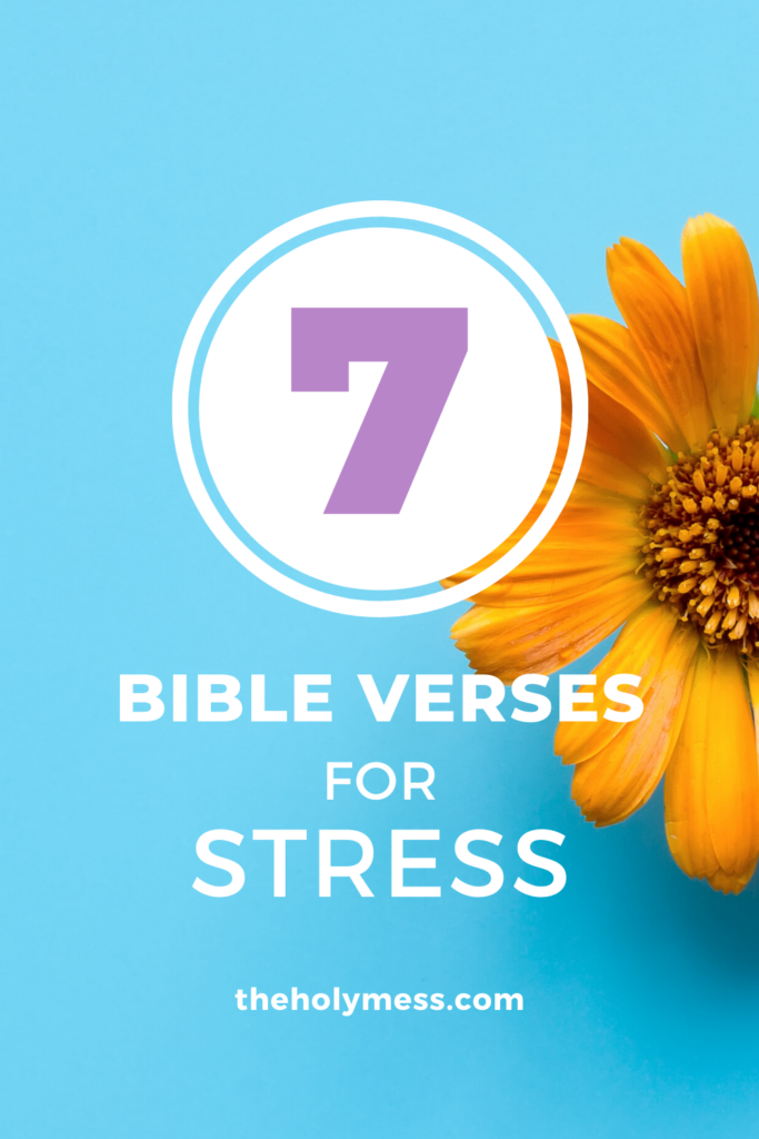 Yellow flower, blue back ground, 7 bible verses for stress