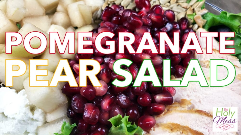Pomegranate Pear Salad with Grilled Chicken and Cherry-Lime Dressing