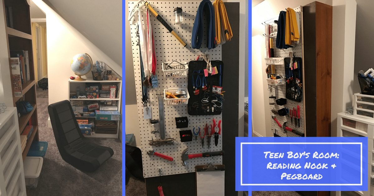 Teen Boy's Room: Reading Nook and Pegboard|The Holy Mess