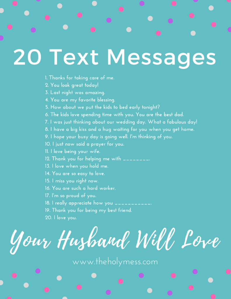 20 Text Messages Your Husband Will Love - typed on blue background