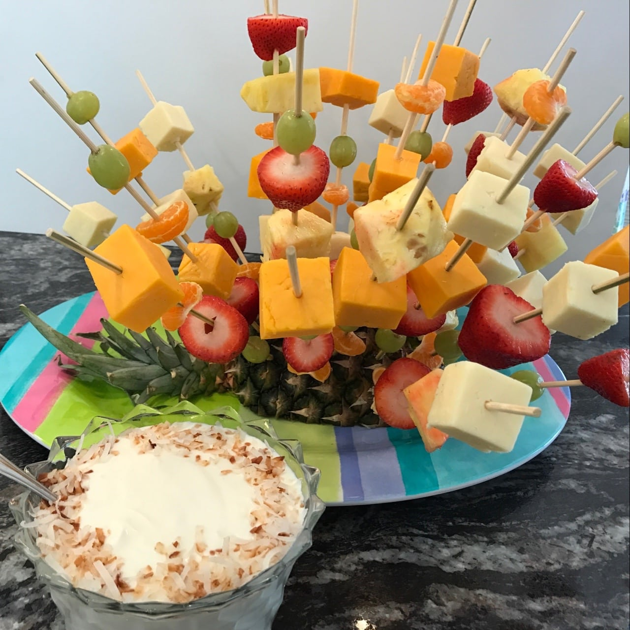 Fruit and Cheese Kebobs in a Pineapple