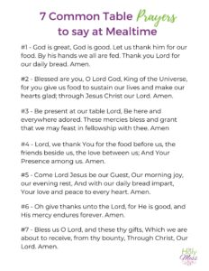 Common Table Prayers - Free Printable