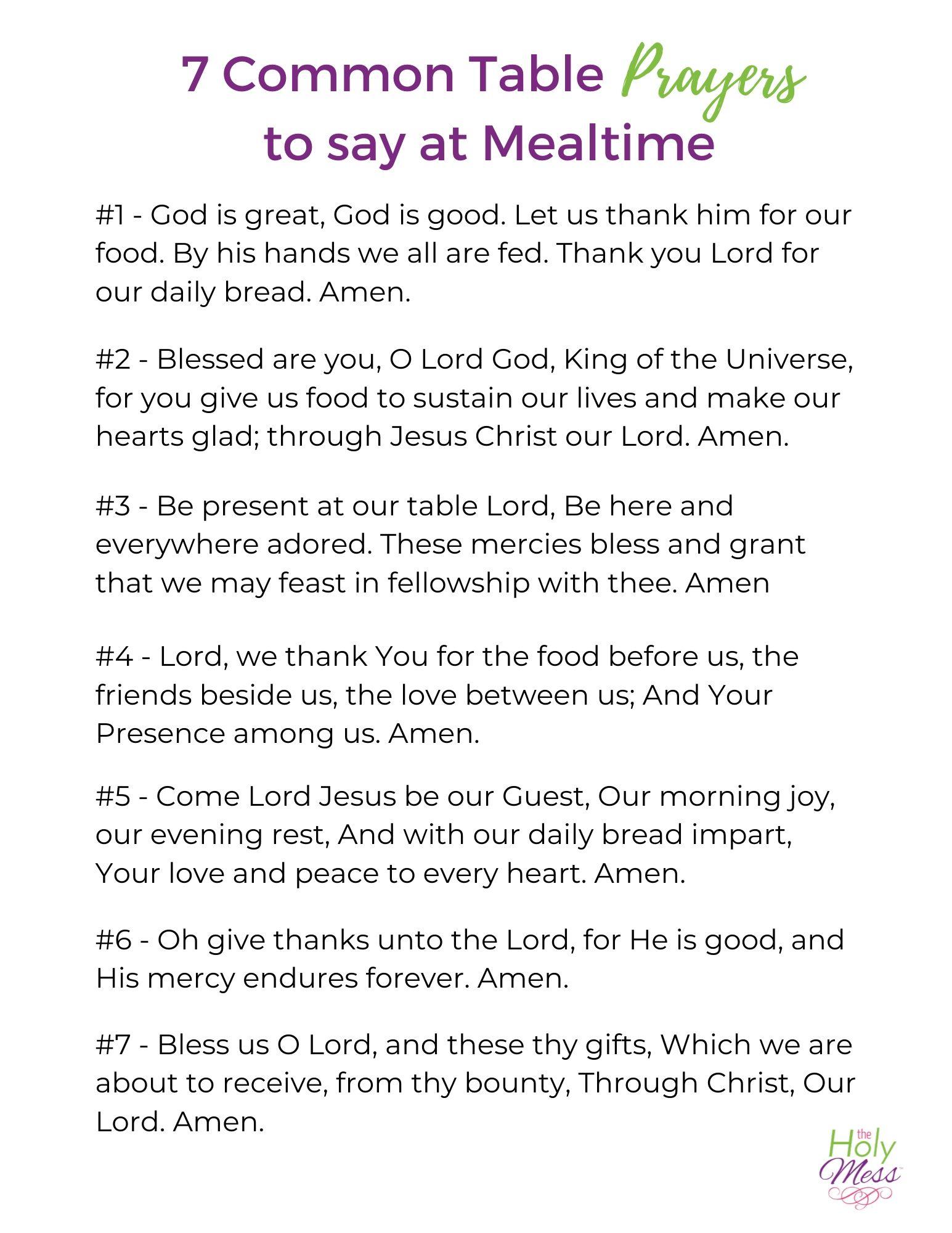 Common Table Prayers - Free Printable