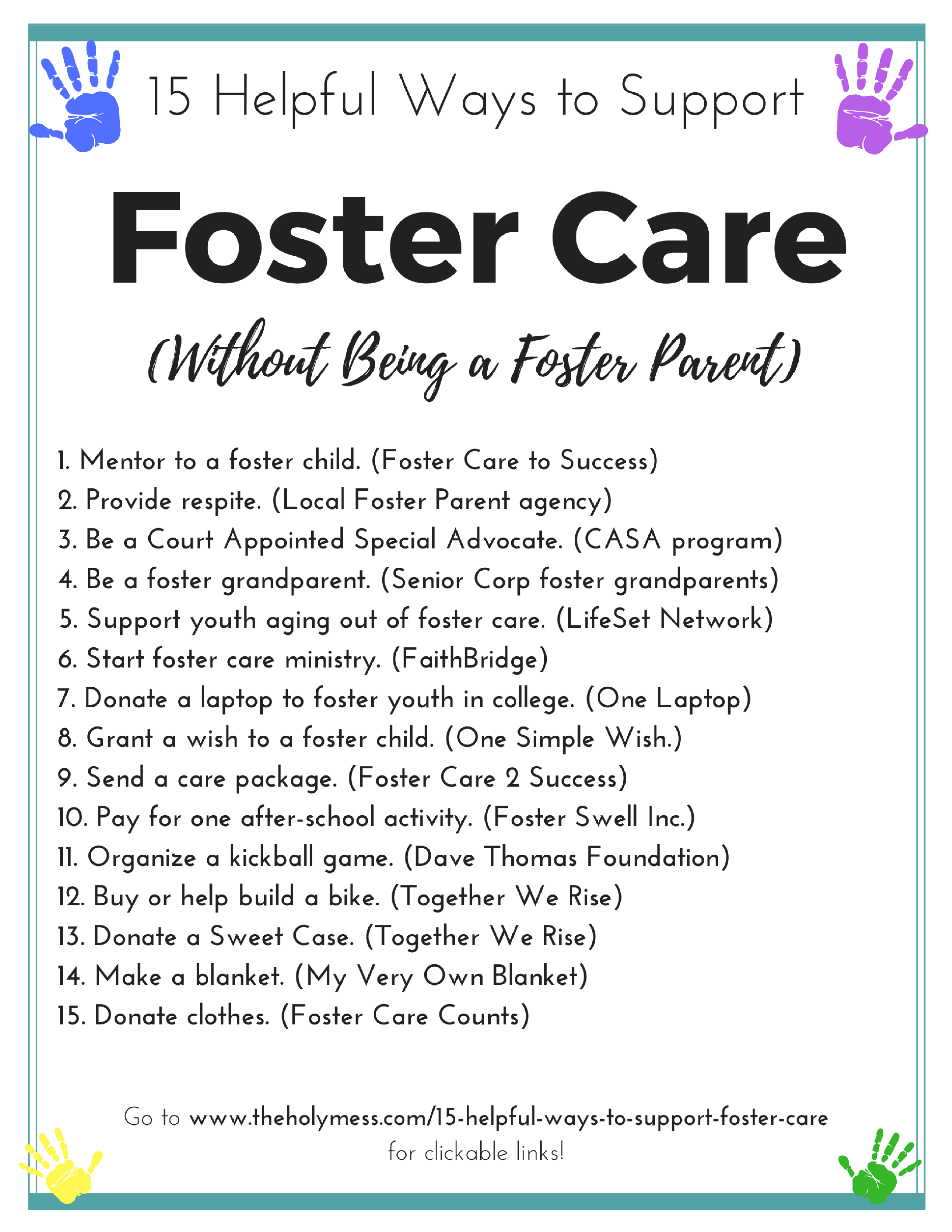 15 Ways to Support Foster Care Without Being Foster Parents