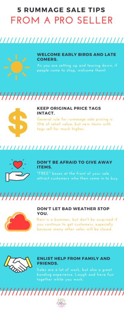 5 Rummage Sale Tips Infographic|The Holy Mess