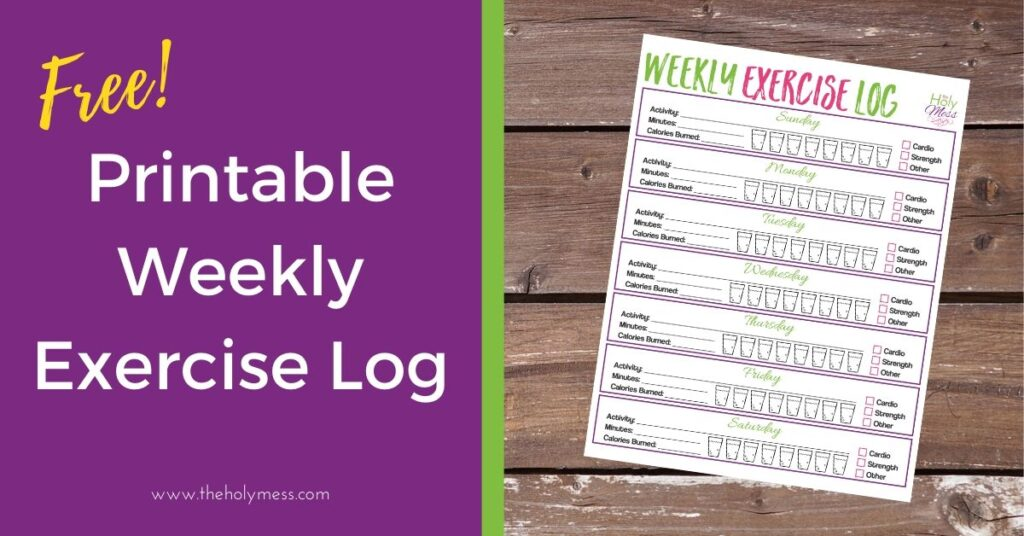 Desktop with free printable weekly exercise log and title