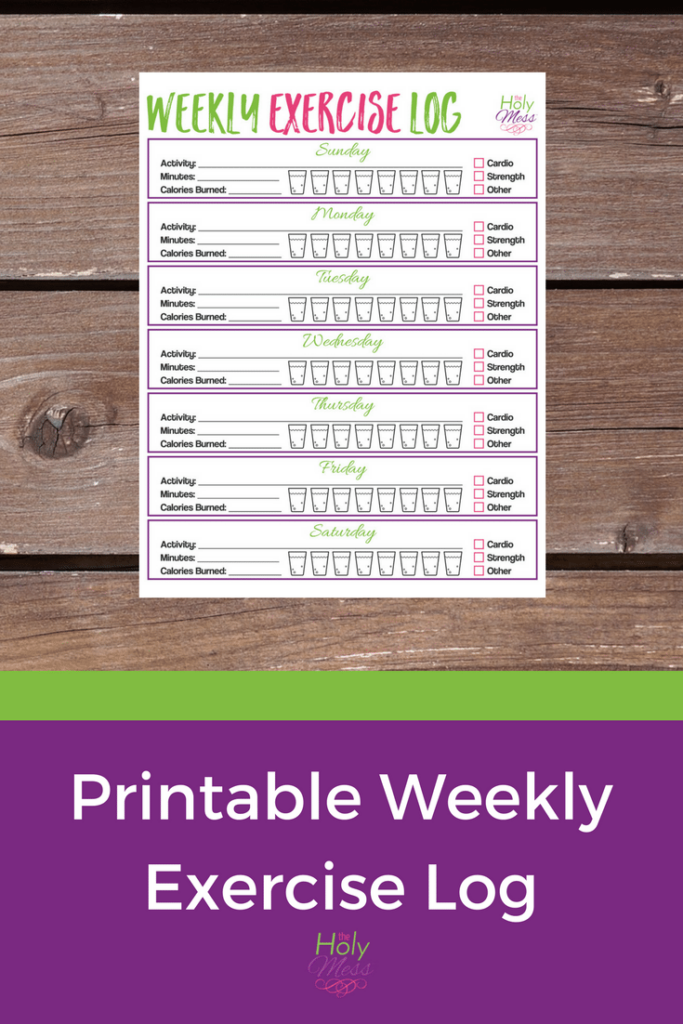 Printable Weekly Exercise Log|The Holy Mess