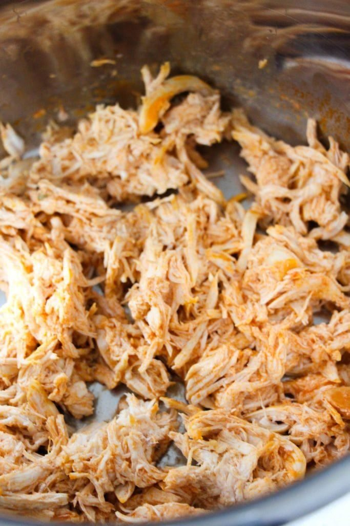 Instant Pot Buffalo Chicken Dip - cook chicken in IP