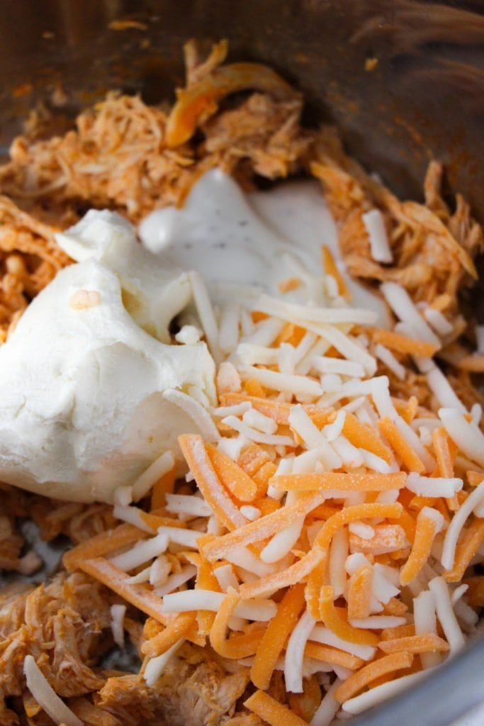 Instant Pot Buffalo Chicken Dip - in process