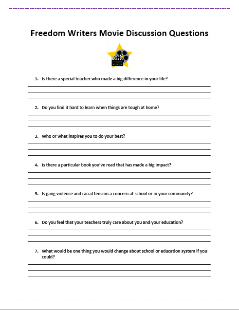 Freedom Writers Discussion Worksheet