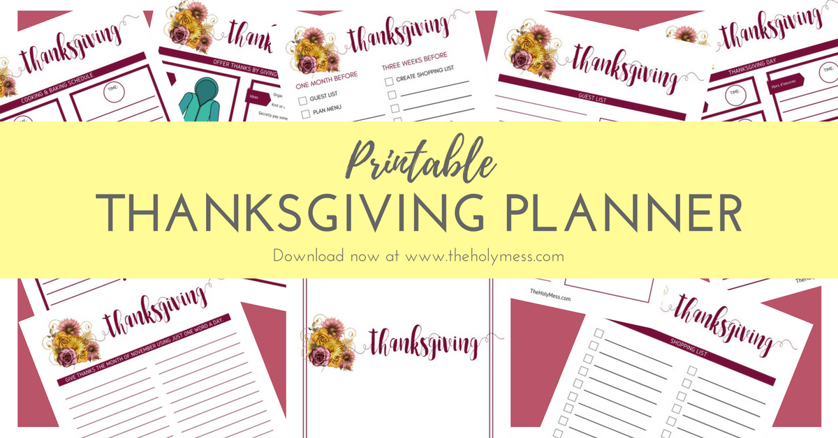The Holy Mess Printable Thanksgiving Planner