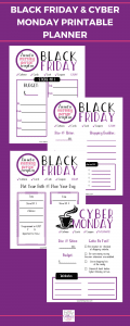 Black Friday and Cyber Monday Printable Planner #blackfriday #cybermonday #shopping #deals