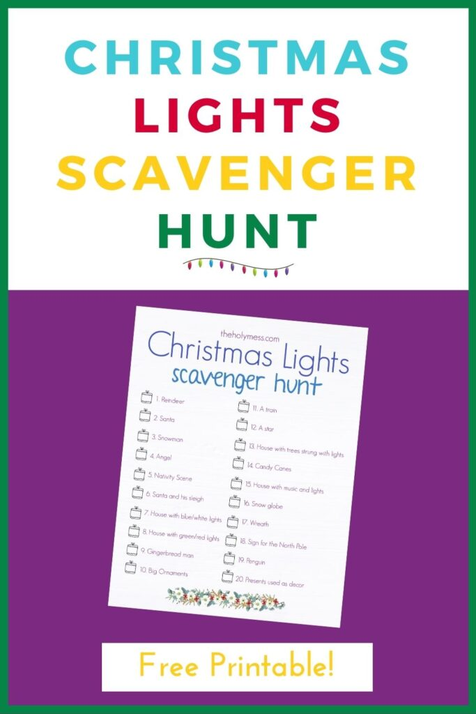 Christmas Lights Scavenger Hunt Printable Free