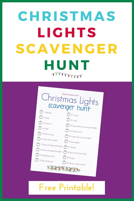 Christmas Lights Scavenger Hunt Printable Free