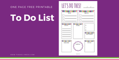 One Page Free Printable To Do List