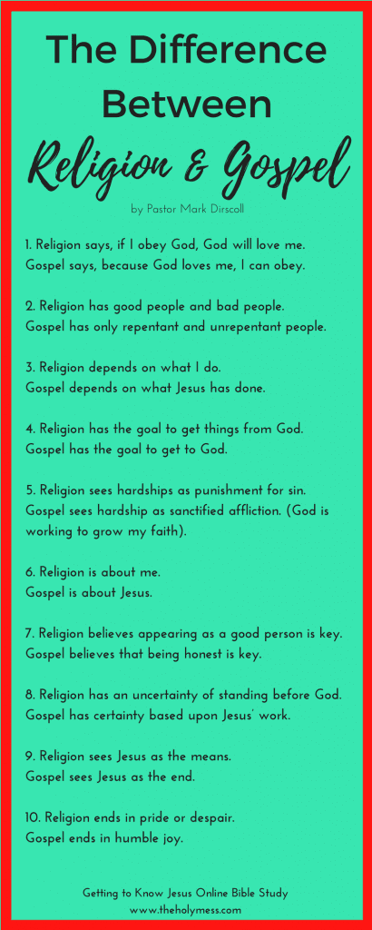 The Difference Between Religion and Gospel