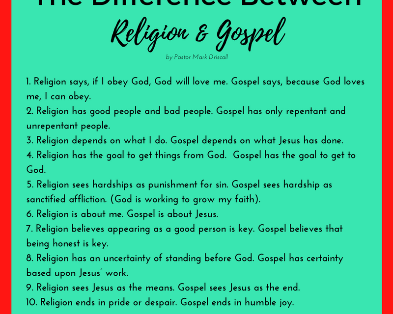 The Difference Between Religion and the Gospel