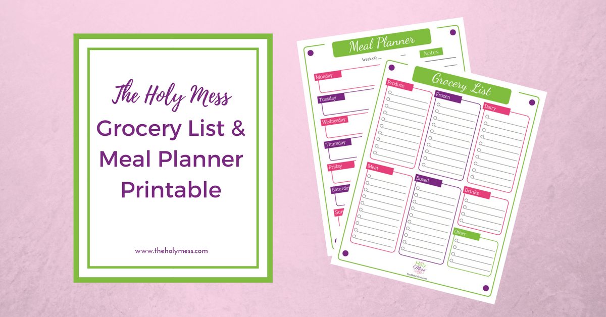 photograph regarding Printable Meal Planner known as The Holy Mess Grocery Checklist and Supper Planner Printable