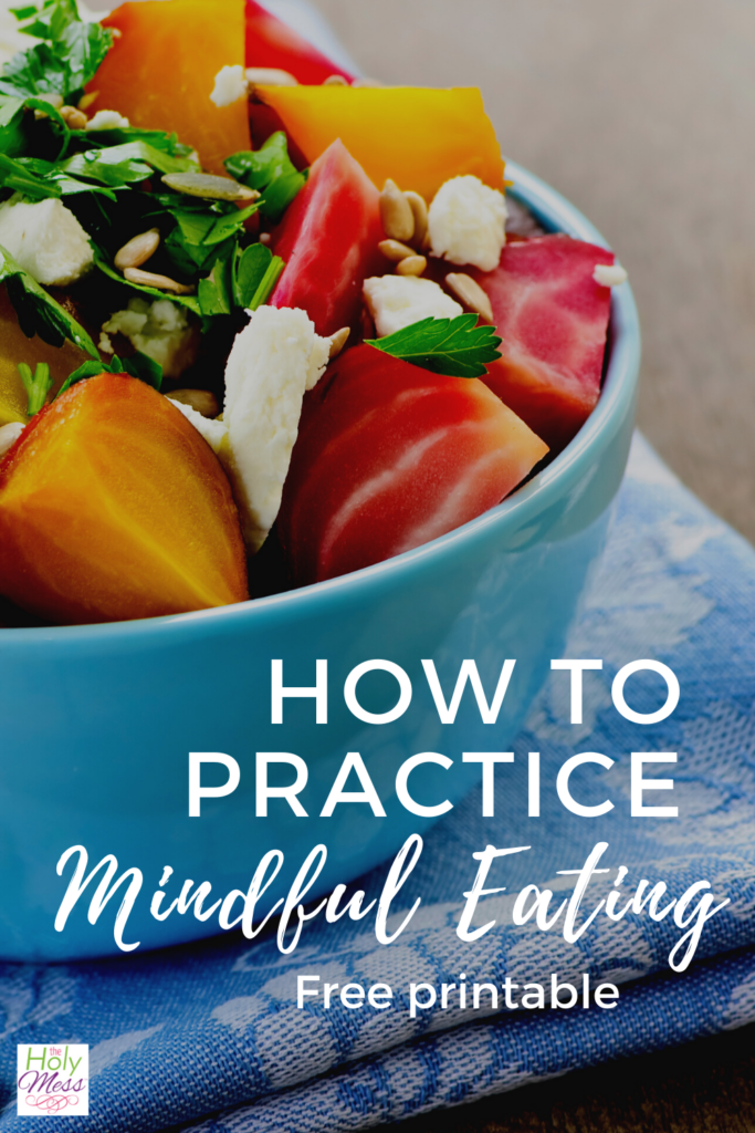 mindful eating, bowl of fresh salad on blue towel