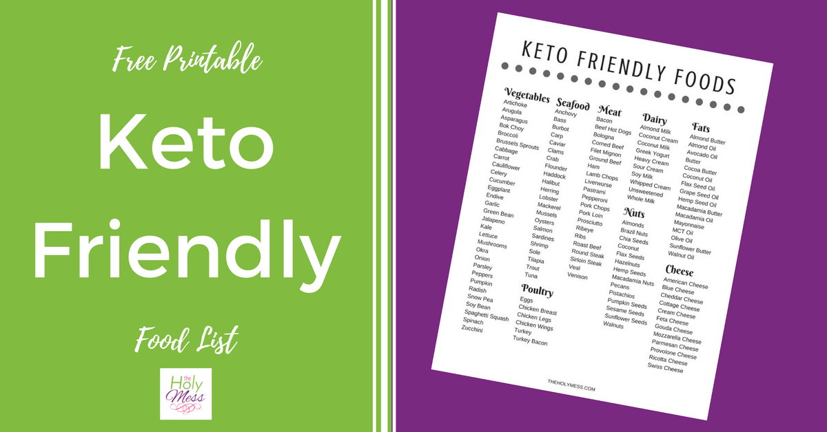 Free Printable Keto Friendly Food List