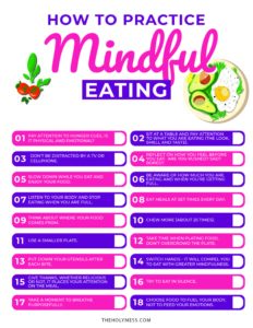List of how to practice Mindful Eating