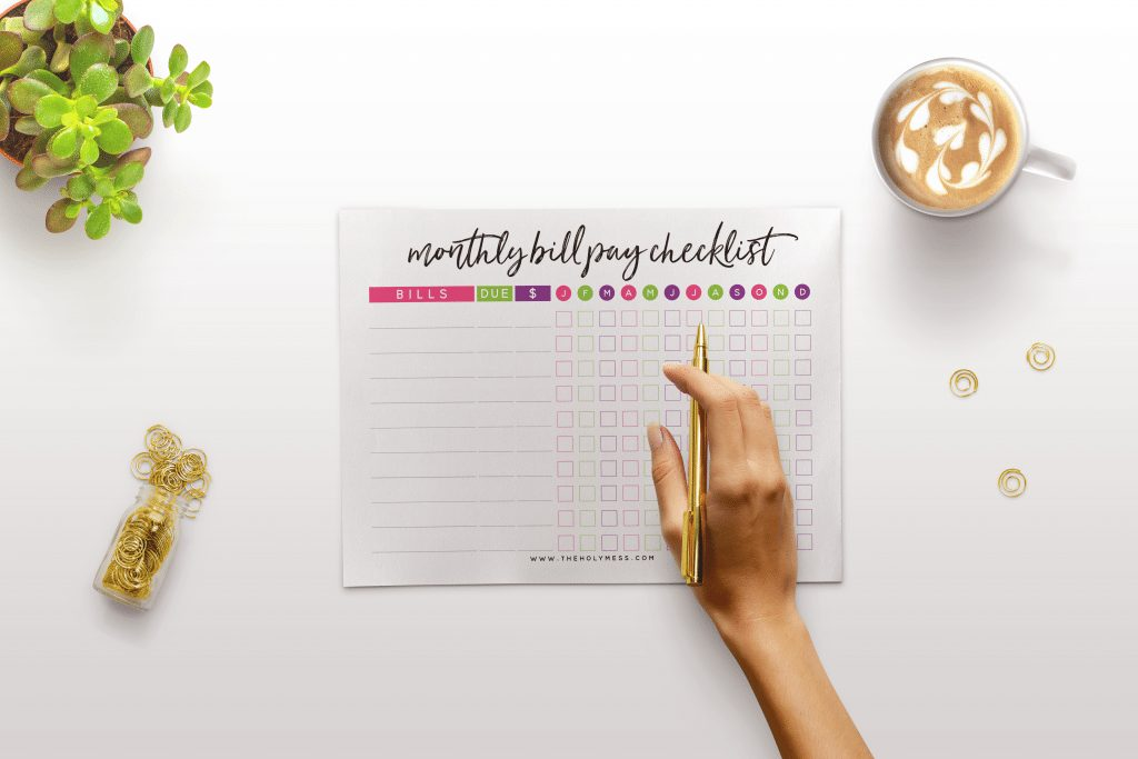 Monthly Bill Payment Checlist