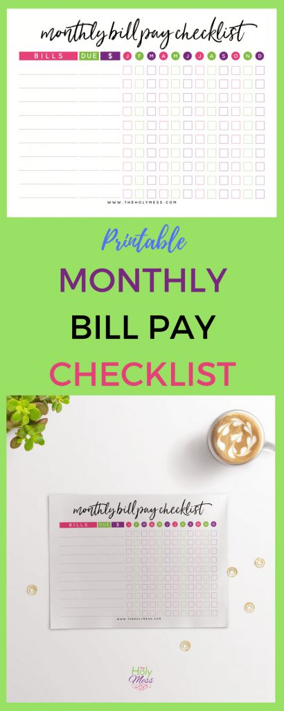 Printable Monthly Bill Pay Checklist