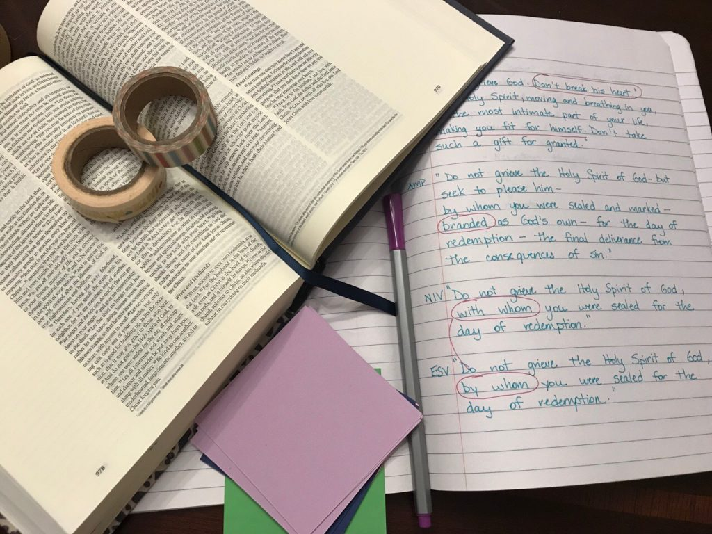 Bible journaling with a deep Scripture study.