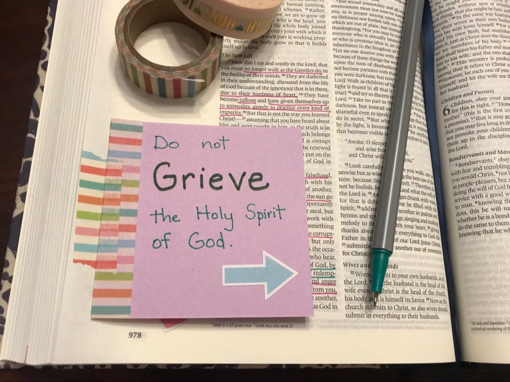 Bible journaling with Ephesians 4:30.