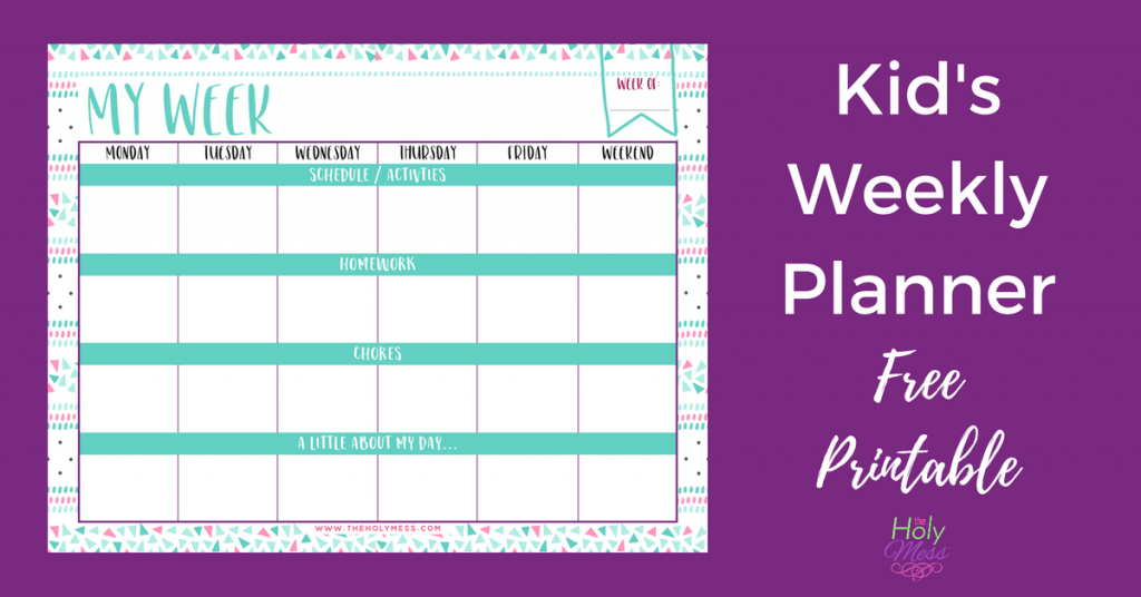 Kid's Weekly Planner Free Printable