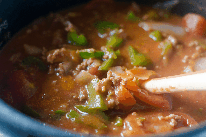 Instant Pot Goulash - stirring the pot