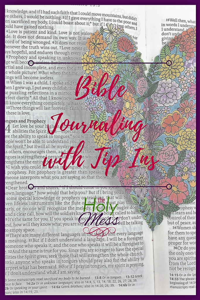 Bible journaling with tip ins Pinterest graphic