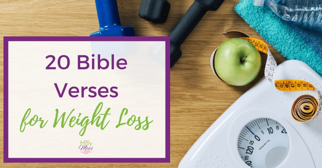 Bible Verses for Weight Loss, white body scale with dumb bells, measuring tape, towel and an apple