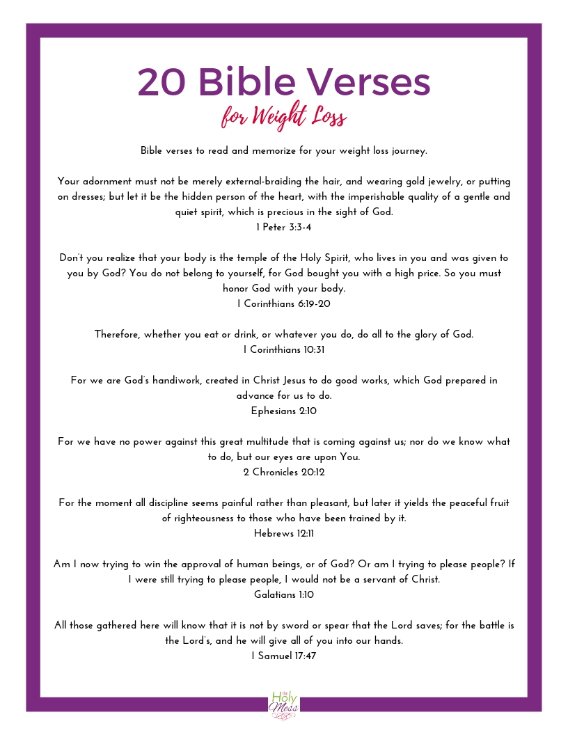 Free Printable 20 Bible Verses for Weight Loss