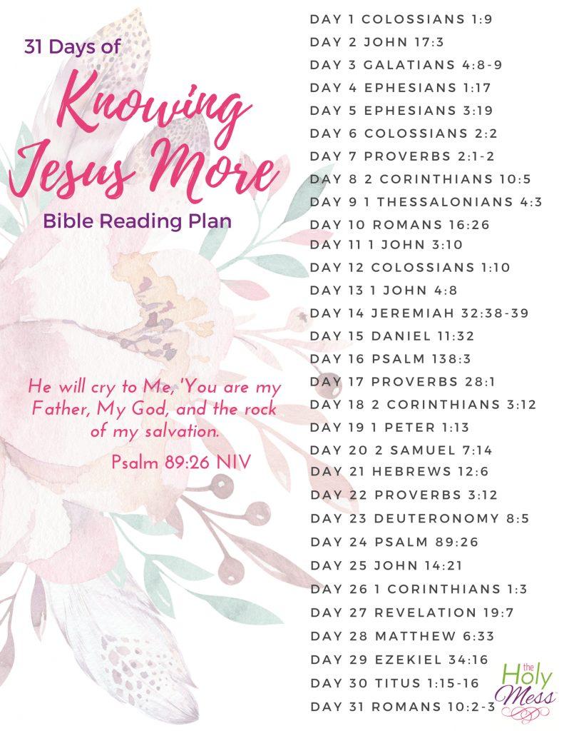 31 Days of Knowing Jesus More Bible Reading Plan