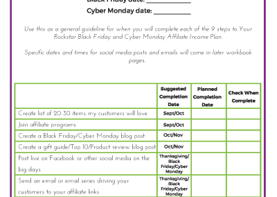 Black Friday and Cyber Monday income plan time line.