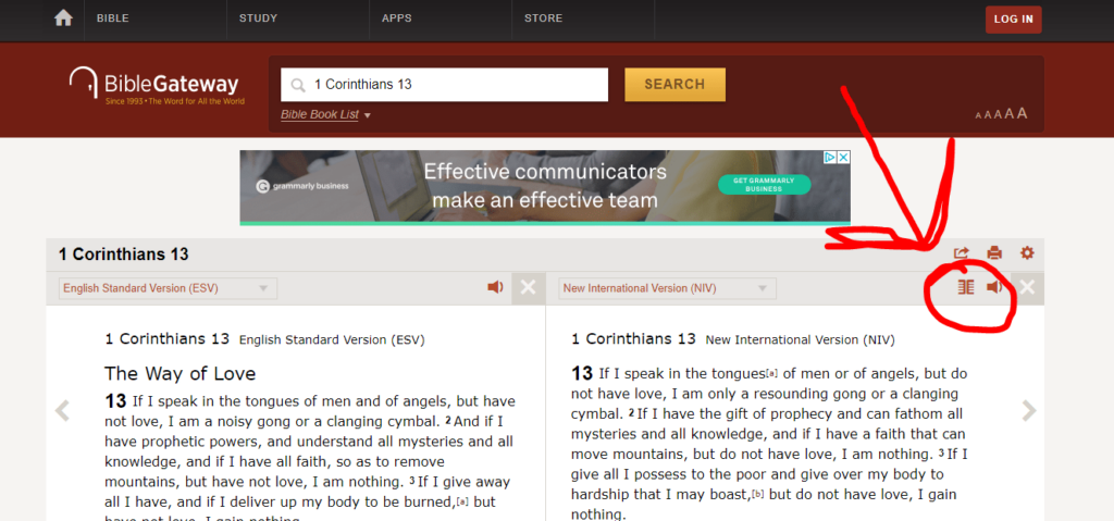 How to Compare Translations with Bible Gateway
