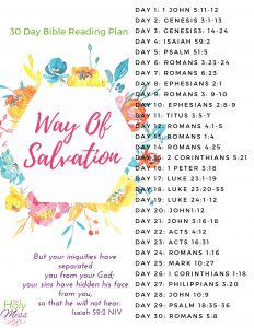 30 Day Way of Salvation Bible Reading Plan